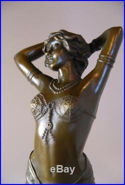 Art nouveau Le Réveil Belle sculpture en bronze signée Phillips- envoi gratuit