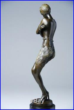 Art nouveau- Superbe statuette en bronze- signé Preiss