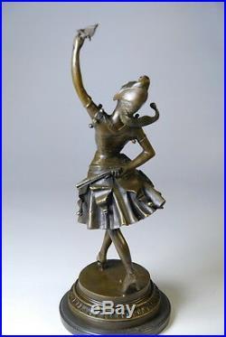 Art nouveau- sculpture signée Laffon Mollo- bronze- marbre- envoi gratuit