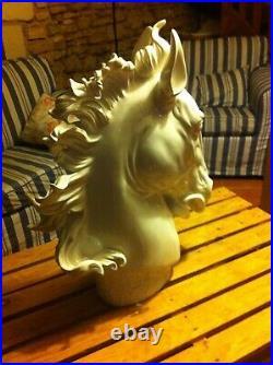 Arte Dal Mondo Sculpture Resine Moderne Tete Cheval Blanc Neuf