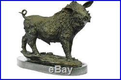 Artisanal Bronze Sculpture Solde ma Déco Art Cochon Sanglier Sauvage Signé Grand