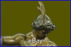Artisanal Bronze Sculpture Vente Art Warrior Knight Armor Base Marbre Figurine