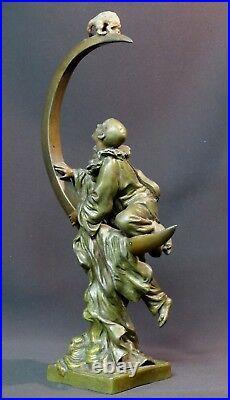 B 1900 rare sculpture art nouveau signée A FORETAY 1.5kg35cm pierrot chat lune