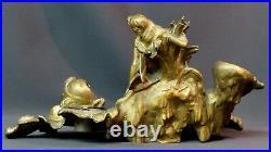 B 1900 superbe vide poche encrier art nouveau signée A FORETAY 2.6kg36c Naïade