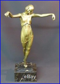 B 1925 P. LAUREL rare statue sculpture art nouveau danseuse bronze 4.3Kg43cm