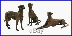 BRONZE sculpture d'art animalier 3 CHIENS lévrier chasse DÉCORATION 15x18 cm