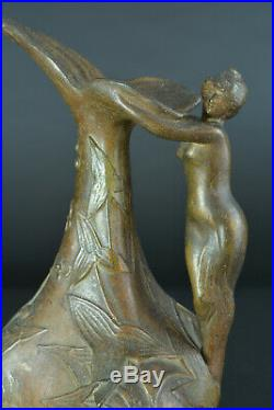 Belle sculpture art nouveau vase Pichet Jules Jouant Femme Fleur Nue Poissons