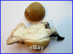 Boite en porcelaine, sculpture érotique Art nouveau Femme escargot