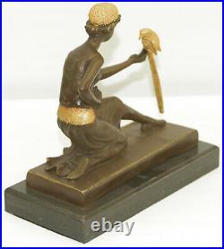 Bronze Art Nouveau Déco Sculpture Fille W / Perroquet Par Chiparus Home Décor
