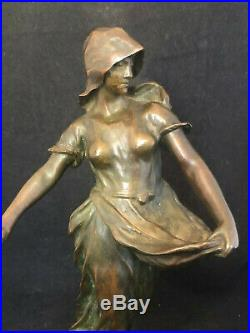 Bronze La Semeuse Vers 1900 Art Nouveau Sculpture Signée A identifier Antique