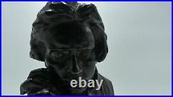 Bronze Pierre Félix Fix-masseau (1869-1987) Art Nouveau, Buste De Beethoven