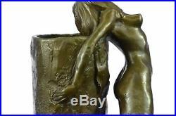Bronze Sculpture Art Nouveau Femelle Sirène Vase Home Décoration Figurine Solde