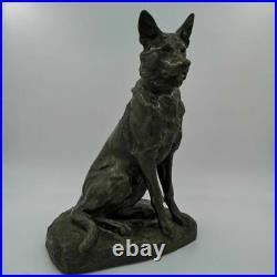 Bronze Sculpture D'Un Schäferhundes De Louis Riché Um 1910/20