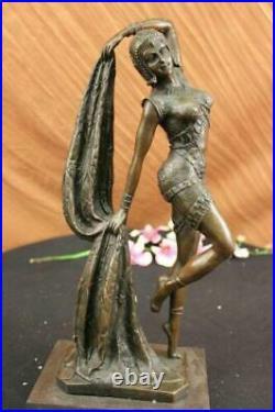 Bronze Sculpture Écharpe Dancer Art Déco Statue Fonte Maison
