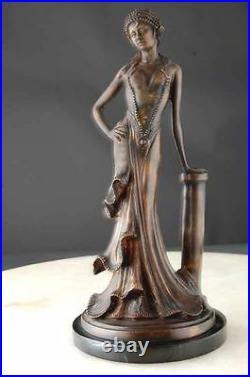 Bronze Sculpture Élégant Dame Art Déco Nouveau