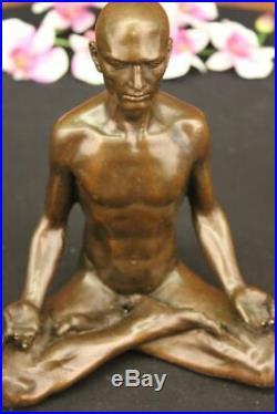Bronze Sculpture, Main Fabriqué Statue Art Nouveau Homme Yoga Méditation Cadeau