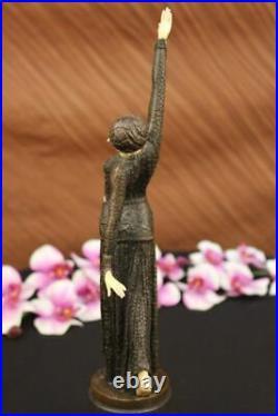 Bronze Sculpture, Main Fabriqué Statue Signé Art Déco Chiparus Ventre Dancer