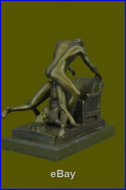 Bronze Sculpture Mâle et Femelle en un Chauffé Moment Fonte Figurine Art