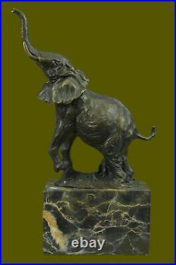 Bronze Sculpture, Statue Art Nouveau Signé Milo Abstrait Éléphant Figurine Nr