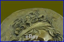 Bronze Statue Bas Relief Sculpture Femme Art Nouveau 18 Diamètre Figurine