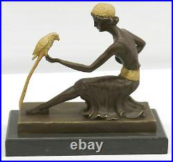 Bronze Style Art Nouveau Deco Sculpture Fille Avec / Perroquet Par Chiparus Nr