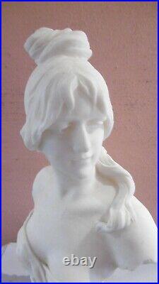 Buste De Femme Art Nouveau Sculpture Albatre Signe Alphonse Henri Nelson