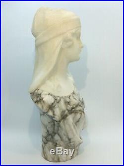 Buste Femme Au Turban en marbre de Guglielmo PUGI époque art nouveau