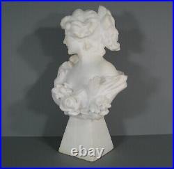 Buste Femme-fleur Amoureuse Sculpture Ancienne Albtre Art Nouveau Signée Pugi