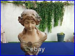 Buste Terre Cuite Signe Poesie Art Nouveau Sculpture