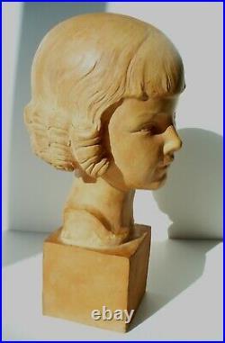 Buste art nouveau art déco sculpture fille Gallo terre cuite 34 cm