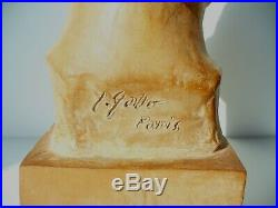 Buste art nouveau art déco sculpture fille signée Gallo terre cuite 34 cm