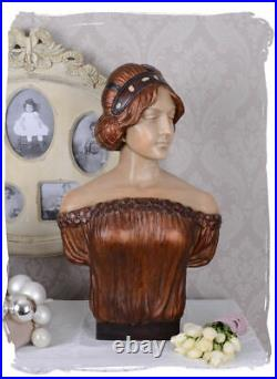 Buste de Femme Art Nouveau Tête de Jeune Fille Mystische Sculpture Buste