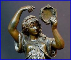 C 1900 jolie statue statuette danseuse au tambourin 24c810g sculpture regule