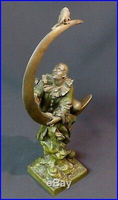 C 1900 rare sculpture art nouveau signée A FORETAY 1.5kg35cm pierrot chat lune