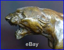 C 1930 CARTIER bronze animalier paire Lionnes rugissantes 60cm statue sculpture