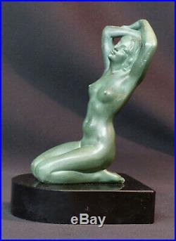 D 1920 superbe statue sculpture métal art nouveau déco 19cm1.4kg femme nue socle