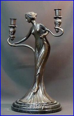 D superbe statue sculpture Bronze art nouveau bougeoir 5.5kg40cm très déco