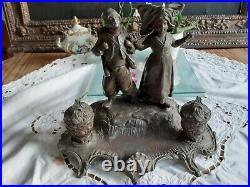 DOUBLE ENCRIER L'ALSACIENNE & LE ZOUAVE, Régule Art Nouveau, signée A. BOSSU