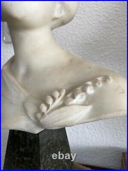 Dante ZOÏ, rare grande sculpture en marbre blanc, Art Nouveau et Taille Directe