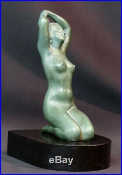 E 1920 superbe statue sculpture métal art nouveau déco 19cm1.4kg femme nue socle