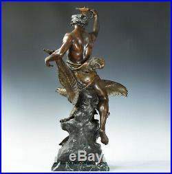 É. Picault L Etude Affranchit la Pensée Sculpture Art Nouveau 1890 France