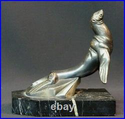 E sculpture 1920 art nouveau Hippolyte Moreau phoque marbre métal 13cm830g déco