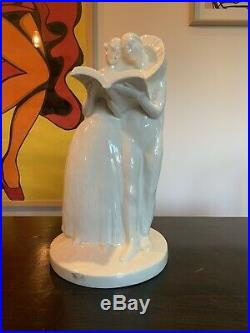 Édouard CAZAUX Sculpture Pierrot Et Colombine Art Nouveau Mayodon