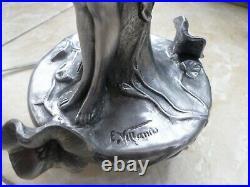 Emmanuel VILLANIS (1858-1914)-Vase-lampe-étain-Sculpture femme-ART NOUVEAU