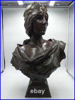 Emmanuel Villanis La Sibylle Époque Art Nouveau Bronze Signé
