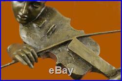 Érotique Nu Art Sexy Femelle Violon Lecteur Bronze Sculpture Statue Déco Deal