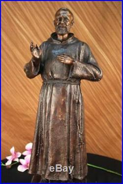 Fait à la Main Saint Pio Italien Bronze Marbre Sculpture Figurine Sculpture Art