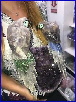 Famille Oiseau Sculpture Art par Améthyste sur Énorme Améthyste Druze Base