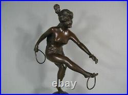 Femme Danseuse Nue Aux Anneaux Sculpture Art Nouveau Bronze Ancien Signé Faure