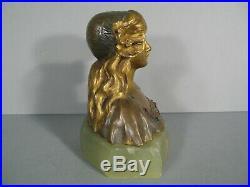Femme Fleur Sculpture Symboliste Bronze Ancien Style Art Nouveau Jugendstil